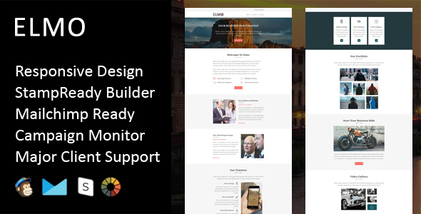 Elmo – Multipurpose Responsive Email Template + Stampready Builder