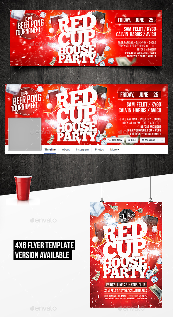 Red Cup House Party Facebook Timeline Cover Template By Valoumazmaz