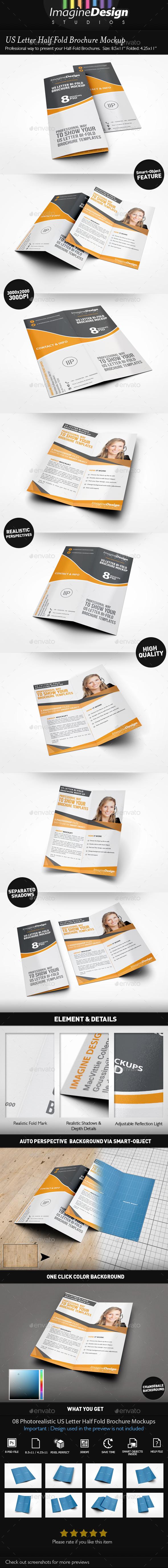US Letter Half-Fold Brochure Mockup - Brochures Print