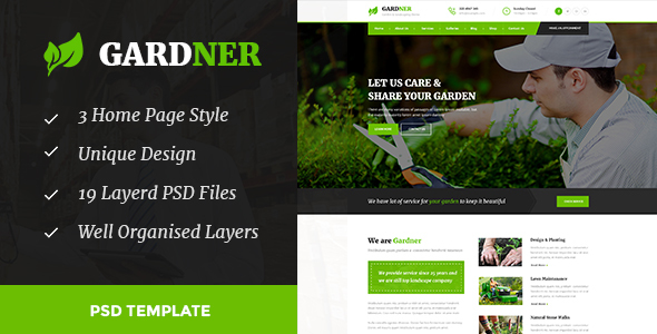 GARDNER - Garden & Landscaping PSD Template - Business Corporate