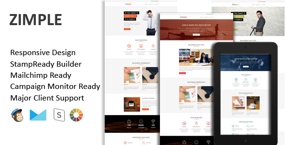 ZIMPLE – Multipurpose Responsive Email Template + Stamp Ready Builder