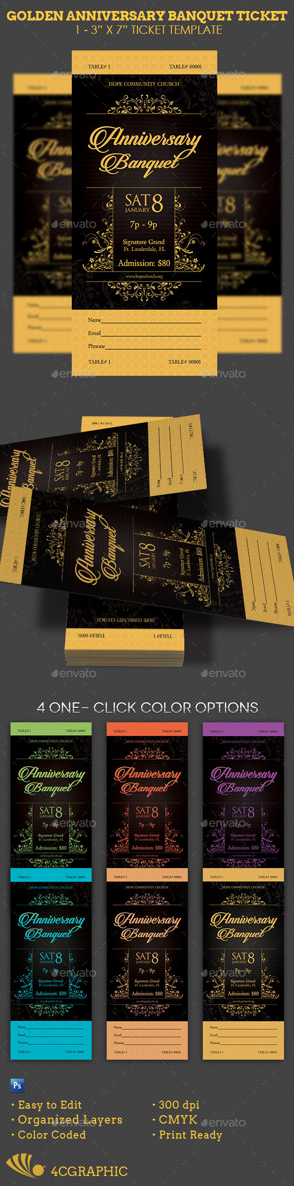 Golden Anniversary Banquet Ticket Template - Miscellaneous Print Templates