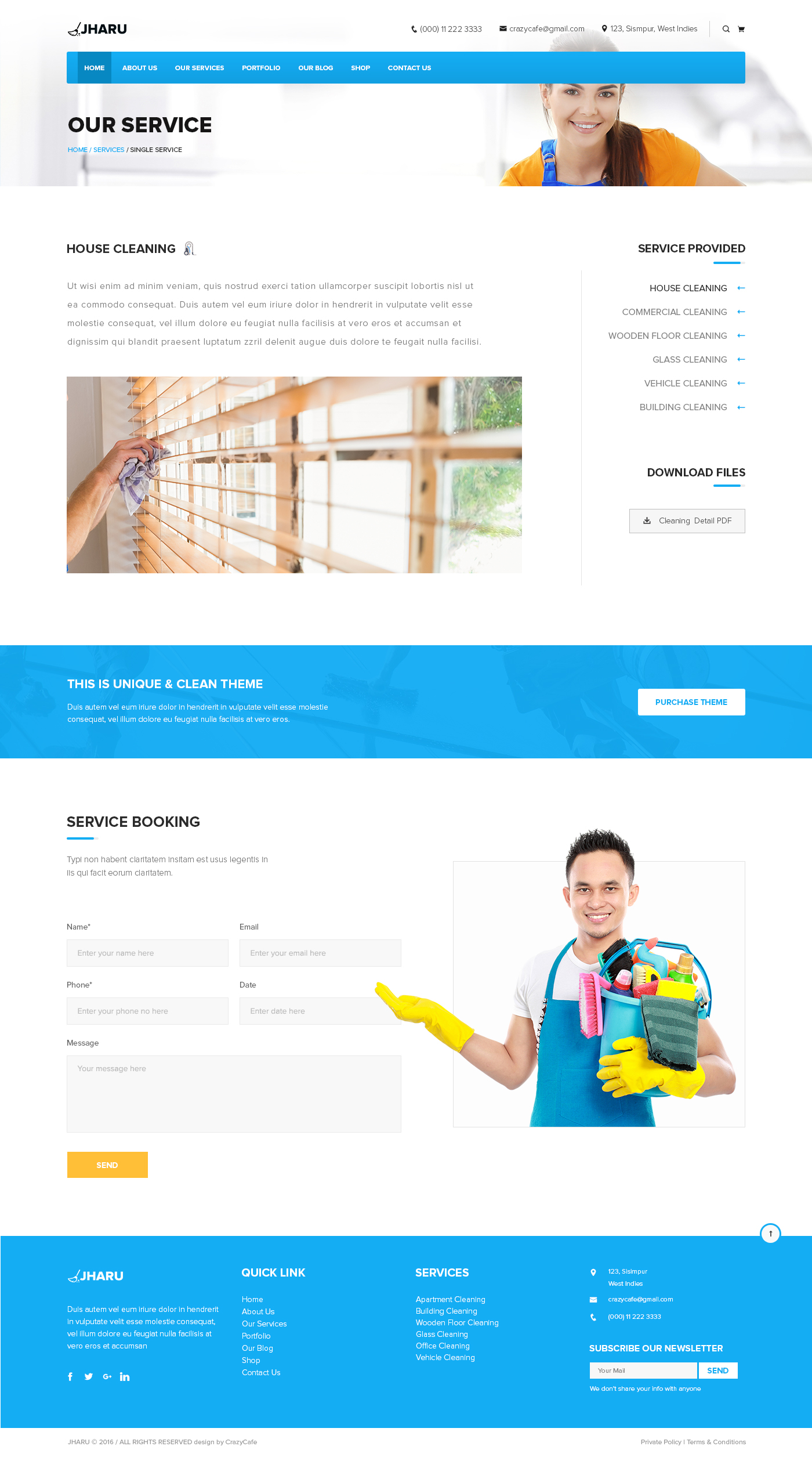 Jharu – Cleaning Service PSD Template by design-cafe   ThemeForest