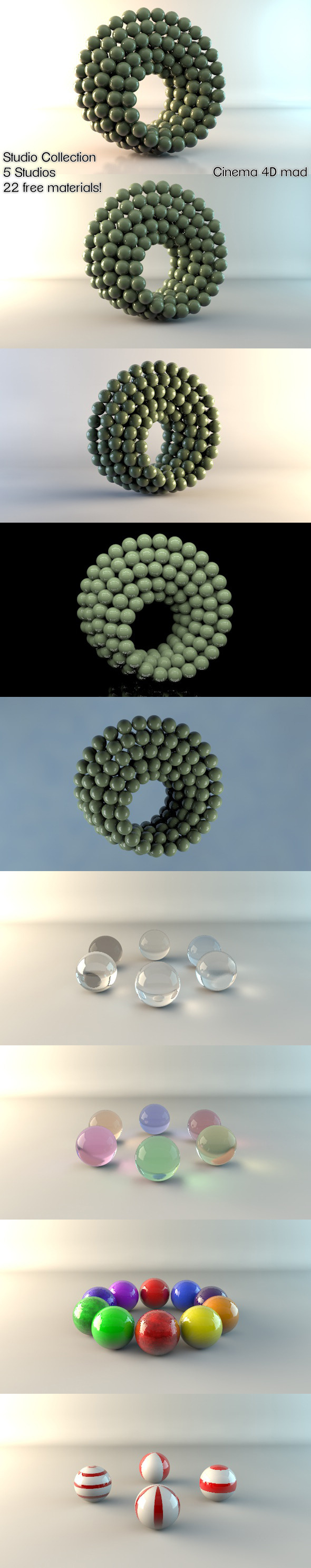 5 Studios & 22 Materials C4D - 3DOcean Item for Sale