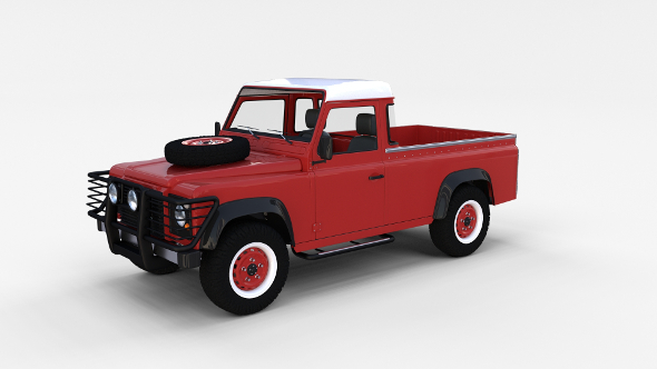 Land Rover Defender 110 Pick Up w interior rev - 3DOcean Item for Sale