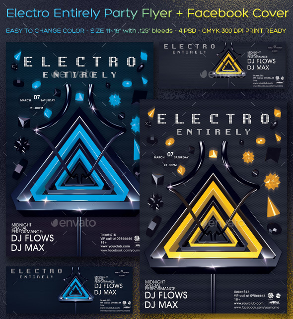 Electro Entirely Party Flyer/Poster/Facebook Covers - Clubs & Parties Events