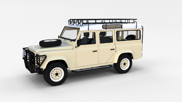 Land Rover Defender 110 Station Wagon w interior rev - 3DOcean Item for Sale