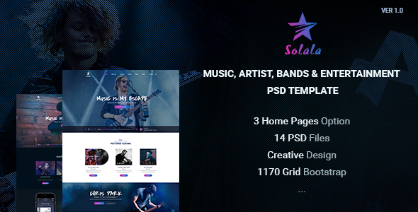 Solala - Music, Artist, Bands & Entertainment PSD template