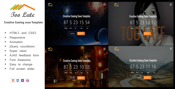 Toolate - Coming Soon Template - Under Construction Specialty Pages