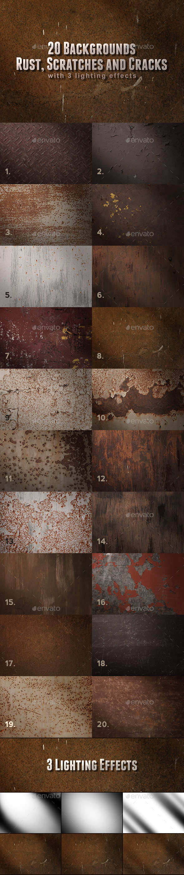 Metal Rust, Scratches and Cracks Backgrounds - Metal Textures