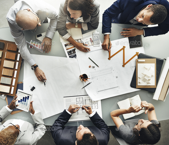 Business People Planning Blueprint Architecture Concept - Stock Photo - Images