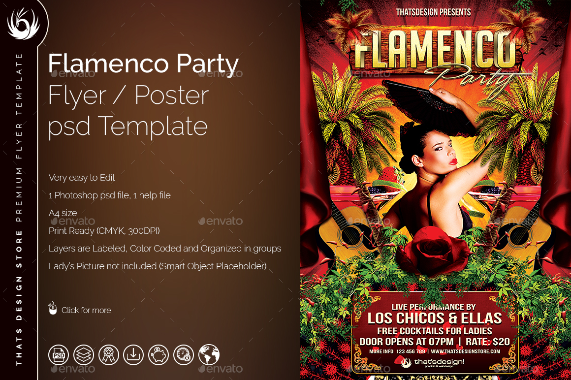 flamenco party flyer template by lou606 graphicriver