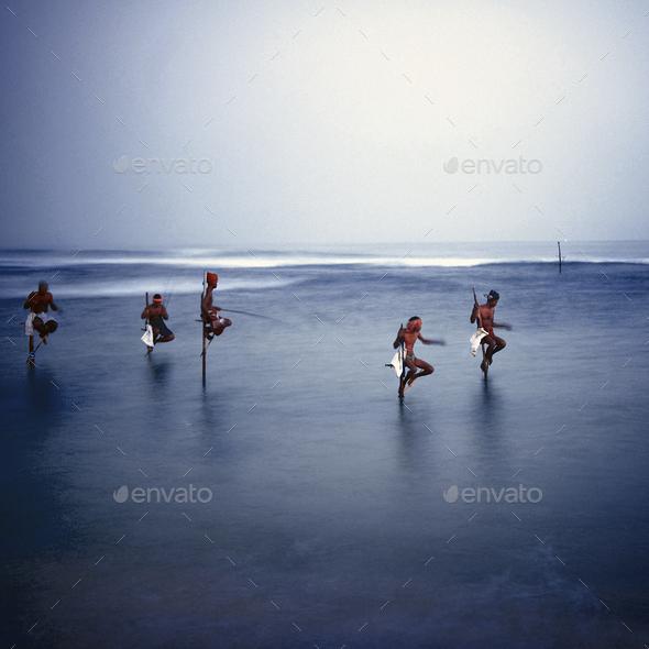 Traditional Stilt Fishermen in Sri Lanka Concept - Stock Photo - Images