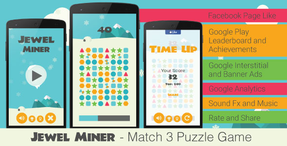 Jewel Miner - Match 3 Puzzle Game - CodeCanyon Item for Sale