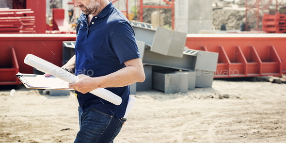 Construction Worker Planning Contractor Developer Concept - Stock Photo - Images