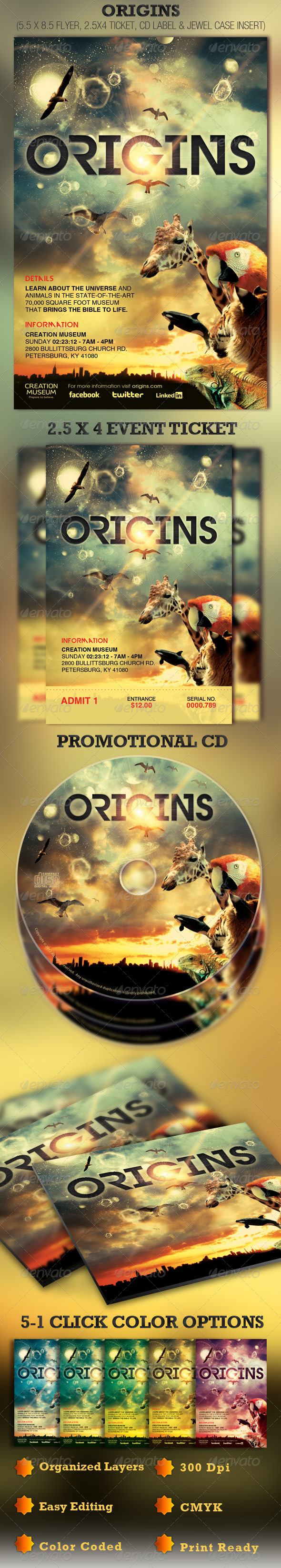 Origins Flyer, Ticket and CD Template - Church Flyers