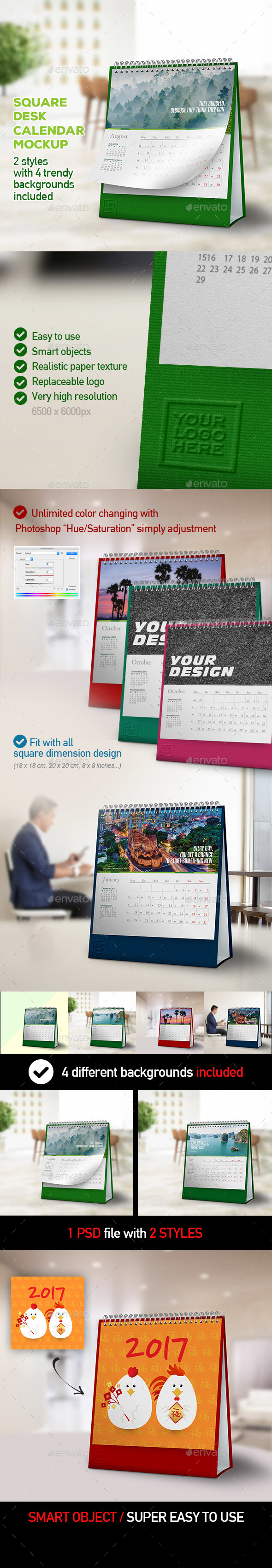 Desk Calendar Mockups - Square Dimension with 2 Styles & 4 Backgrounds