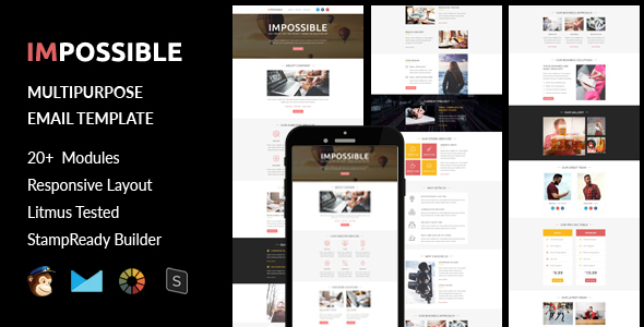 IMPOSSIBLE - Multipurpose Responsive Email Template + Stampready Builder - Email Templates Marketing