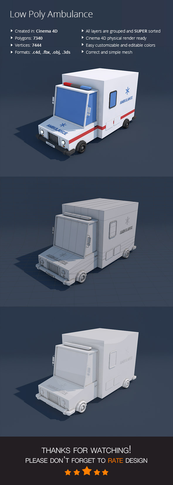 Low Poly Ambulance Car - 3DOcean Item for Sale