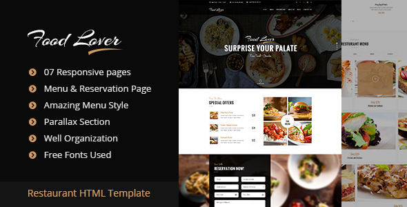 Food Lover Restaurant HTML Template - Restaurants & Cafes Entertainment