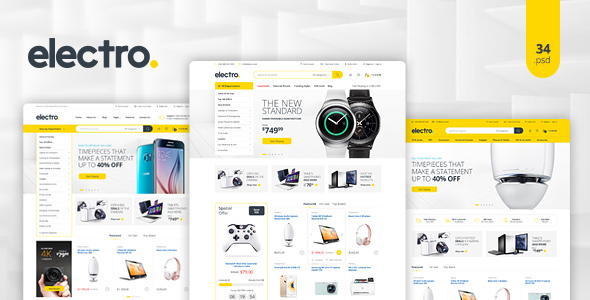 Electro - Electronics eCommerce PSD - Retail PSD Templates