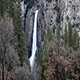 Lower Yosemite Falls With Granite Rock Green And Bare Trees - VideoHive Item for Sale