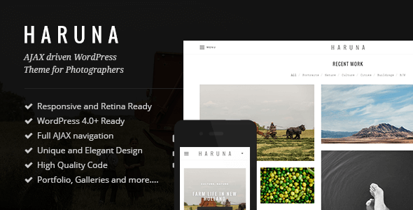 Haruna – AJAX Photography WordPress Theme