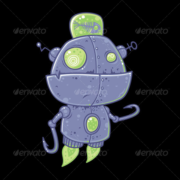 Fishing Robot Cartoon - Miscellaneous Characters