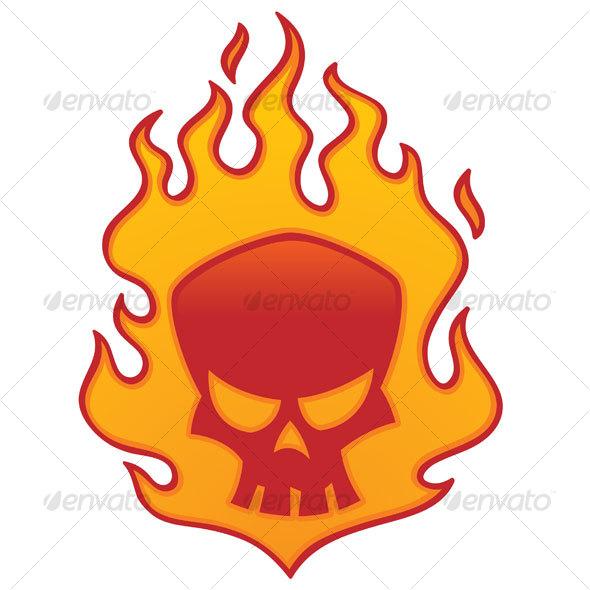 Flaming Skull - Tattoos Vectors