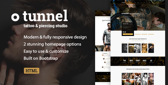 Tattoo, Piercing Modern Studio/Artist HTML Template - Tunnel