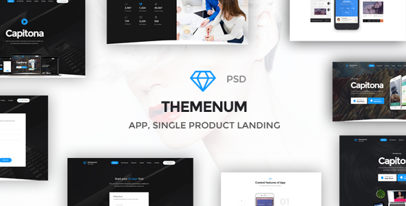Themenum – Multi-Purpose App Showcase Responsive PSD Template