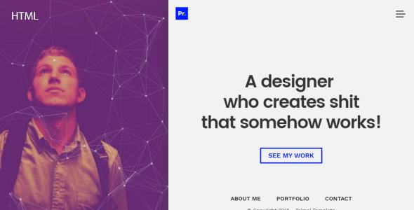 Primal Minimal Personal Portfolio Template - Portfolio Creative