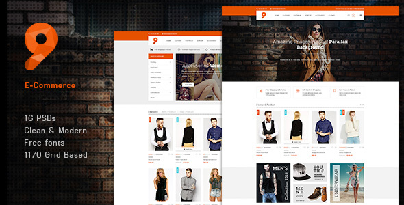 9 Fashion – eCommerce PSD Template