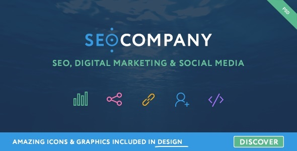 Seo Company – Seo, Digital Marketing, Social Media PSD Template