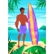 Surfing Boy Cartoon Character - GraphicRiver Item for Sale