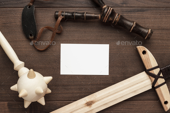 handmade wooden training toy sword, mace and slingshot - Stock Photo - Images