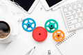 workflow and teamwork concepts with colorful gears and different gadgets - PhotoDune Item for Sale