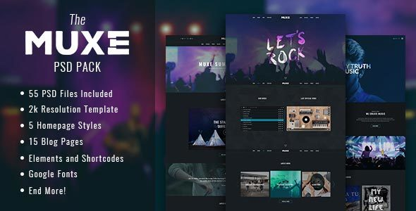 MUXE – Media oriented Musical PSD Template
