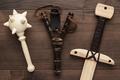handmade wooden training toy sword, mace and slingshot - PhotoDune Item for Sale