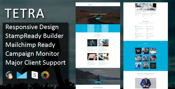 TETRA – Multipurpose Responsive Email Template + Stampready Builder