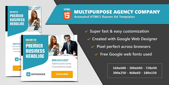 Multipurpose Agency Company - HTML5 Banner Ad Templates - CodeCanyon Item for Sale