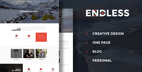 Endless – One Page Personal Blog PSD