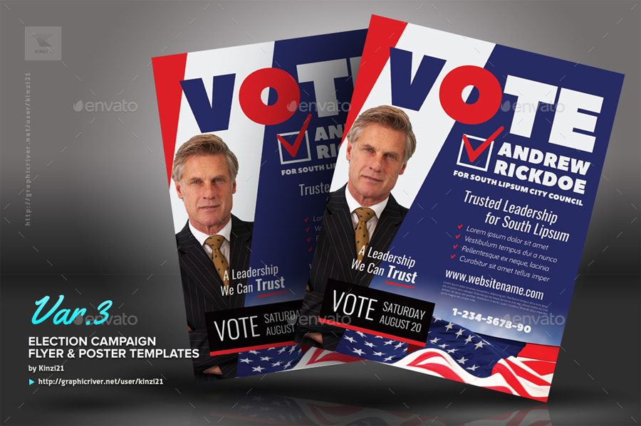 Election Campaign Flyer Or Poster Templates By Kinzi  Graphicriver