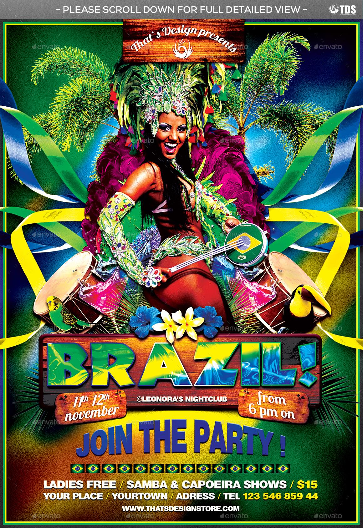 brazilian show flyer template by lou606