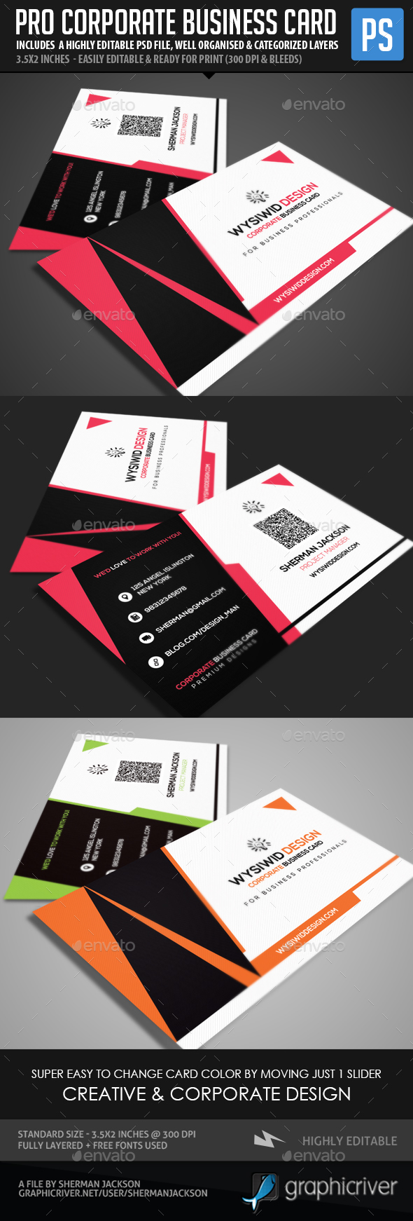 Pro Corporate Clean Business Card - Corporate Business Cards