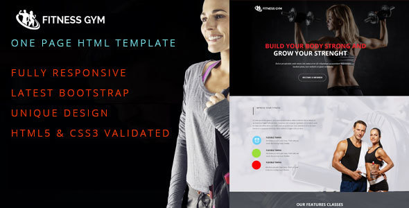 Fitness Gym One Page Responsive HTML5 Template