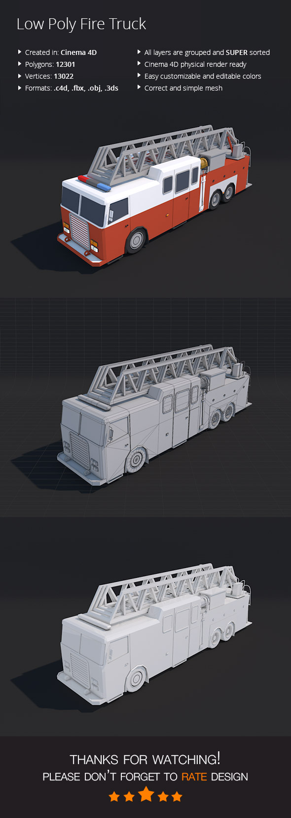 Low Poly Fire Truck - 3DOcean Item for Sale