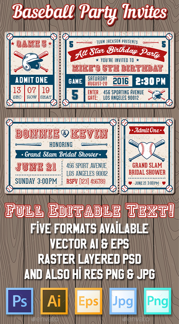 Baseball Party Invites - Sports/Activity Conceptual
