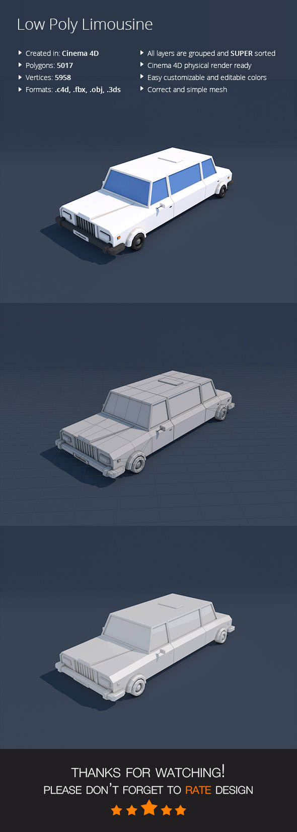Low Poly Limousine Car - 3DOcean Item for Sale