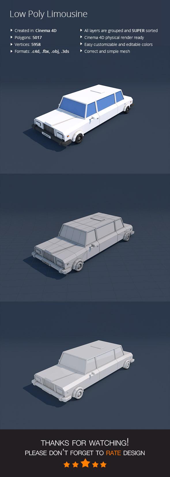Low Poly Limousine Car - 3DOcean Item for Sale